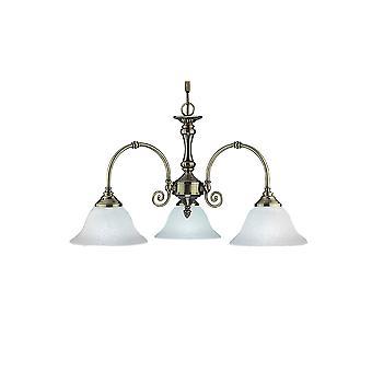 Virginia Antique Brass tre luce plafoniera con vetro Scavo sfumature - Searchlight 9353-3
