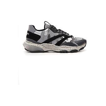 Valentino Garavani grau/schwarz Leder-Sneakers