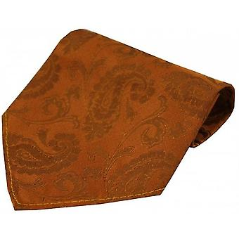 David Van Hagen Luxury Paisley Silk Handkerchief - Burnt Orange
