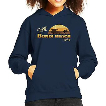 Visit Bondi Beach Retro Beach Kid's Hooded Sweatshirt