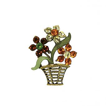 Eternal Collection Primrose Amber/Orange And Green Crystal Gold Tone Flower Brooch