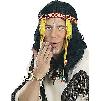 Indianer Perücke schilterlang Herrren schwarz mit Federn Accessoire Karneval