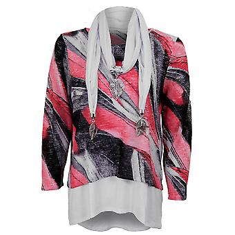 Ladies 3/4 Sleeve Stripe Lined Flare High Low Elegant Thin Jumper Top & Scarf