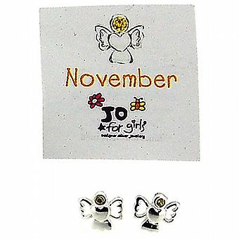 Jo For Girls Sterling Silver November Simulated Birthstone Angel Stud Earrings