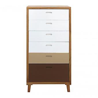 Möbler Rebecca Cassese Dresser 6 vit vit trälådor Brown 119x60x45