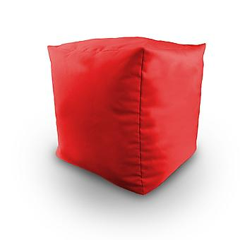 Red Water resistente Bean riempito Cube POUFFE FOOTSTOOL