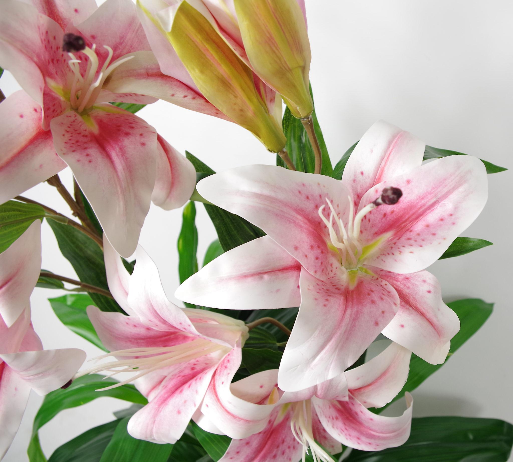 90cm (3ft) Artificial Lilies Stargazer Style Lily Plant Large Flowers