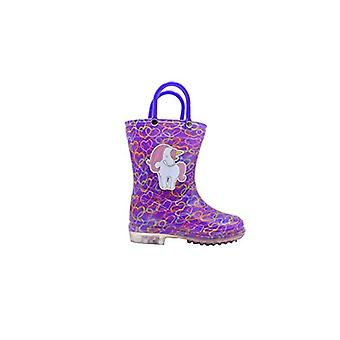 dELiAs Toddler Girls Rainboot Toddler Cute Animal Printed With Easy-On Handles Waterproof Shoes Cat