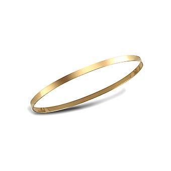 Jewelco London Ladies Solid 9ct Yellow Gold Flat Band Slave 3mm Bangle Bracelet
