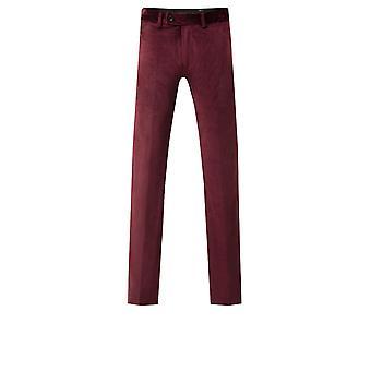 Dobell Mens Burgundy Velvet Trousers Slim Fit