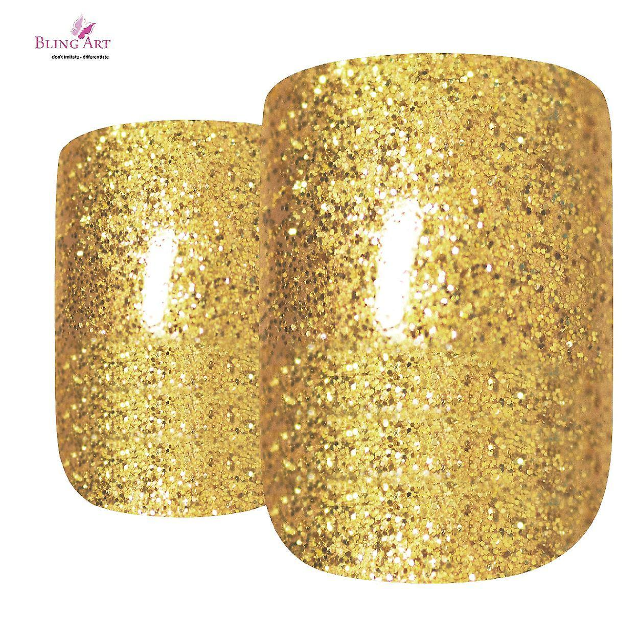 False nails by bling art gold glitter french squoval 24 fake medium acrylic tips