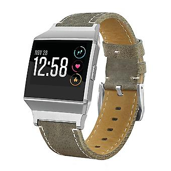 Leather watch band replacement wrist strap for fitbit ionic smart watch