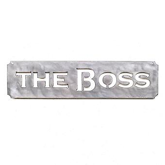The boss plaque - metal cut sign 15x4in