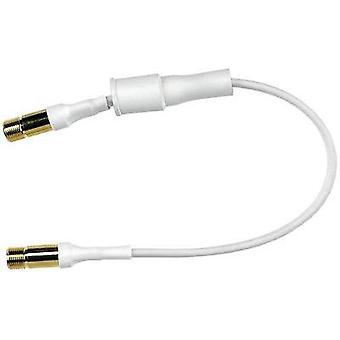 SAT Cable [1x F socket - 1x F socket] 0.25 m 75 dB gold plated connectors, Window duct White Axing