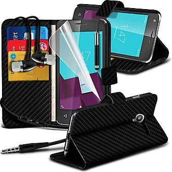 i-Tronixs Vodafone Smart  Ultra 7 Carbon Fiber Classic Wallet Flip Case + Earphones-Black Carbon