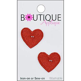 Iron-On Appliques-Red Hearts 2/Pkg A001300-201