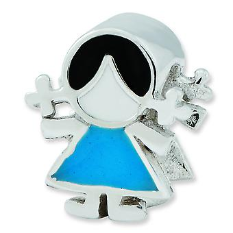 Sterling Silver Enamel Reflections Blue Dress Girl Bead Charm