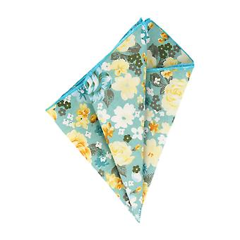 Mr. icone handkerchief Hanky light blue yellow floral