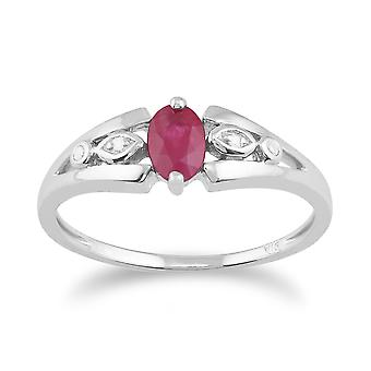 9ct White Gold 0.56ct Natural Ruby & Diamond Single Stone Ring