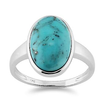 Gemondo 925 Sterling Silver Fine Turquoise Cabochon Oval Bezel Set Cocktail Ring