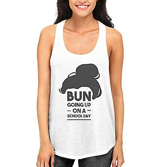 Cute Women and Girls Back To School White Tank Top Bun Going Up A School Day