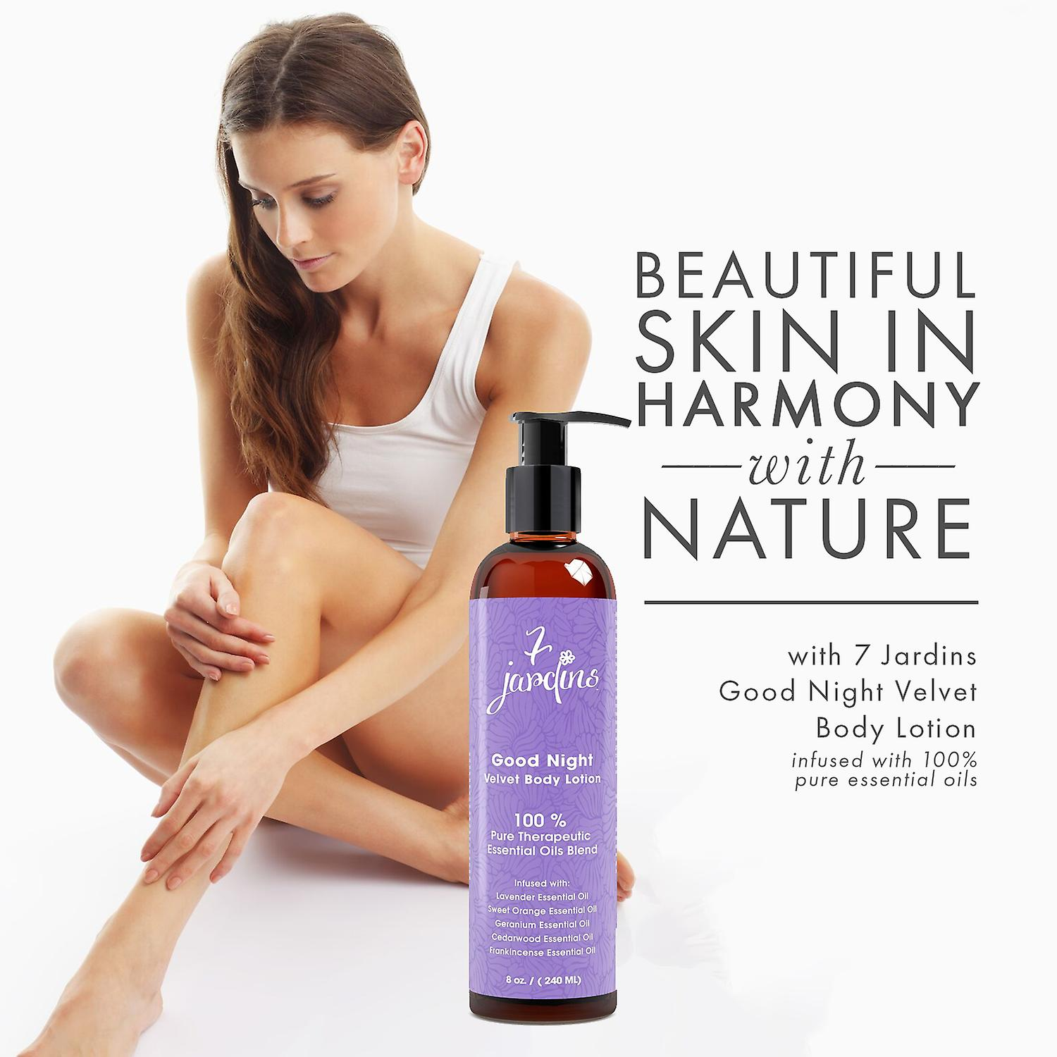 7 Jardins Good Night Velvet Body Lotion - Daily Body Moisturizer for All Skin Types Enriched with Lavender, Sweet Orange, Geranium, Cedarwood & Frankincense Essential Oils - 100% Safe & Sulfate Free