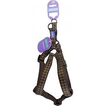 Dog & Co Nylon Padded Harness Luxury Brown Check 1