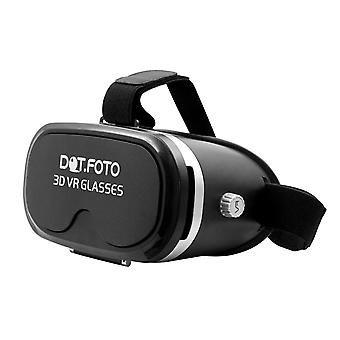 Dot.Foto VR Box 3D Virtual Reality Video Glasögon 90 graders FOV Headset papp för 3.5-5.5 tums Iphone, Samsung, Sony, LG, Google, HTC, Moto Smartphones - (svart)