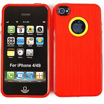 Ubegrænset cellulære Design hud tilfældet for Apple iPhone 4/4S (PU hud, rød)