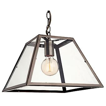 Firstlight Modern Industrial Antique Brass Open Glass Box Pendant