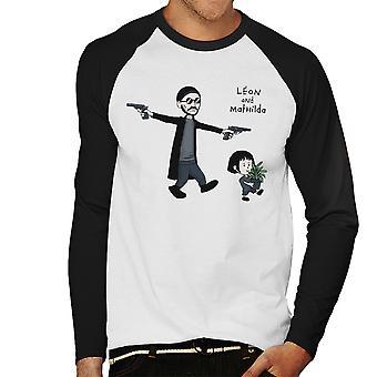 Leon And Mathilda The Professional Calvin And Hobbes Men's Baseball Long Sleeved T-Shirt