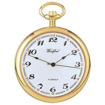 Woodford Gold Plated Arabic Open Face Mechanical Pocket Watch - Gold