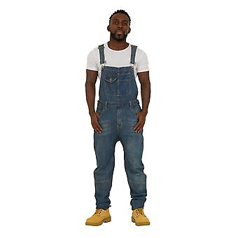 USKEES DANNY Mens Relaxed Fit Dungarees - Palewash Denim Bib Overalls Loose Fit