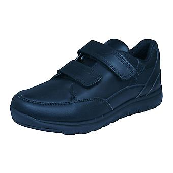 Geox J Xunday B B jongens lederen Trainers / schoenen - zwart
