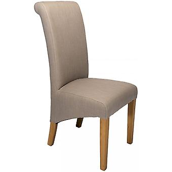 Classic Roll Top Fabric Dining Chair - Smoke