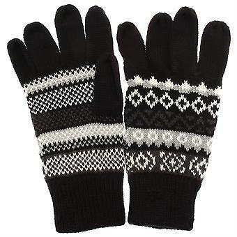 Rękawice męskie czarny z wzór światło szary/biały Fair Isle RJM GL134