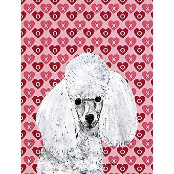 Carolines tesori SC9701GF bianco Toy Poodle cuori e amore bandiera del giardino