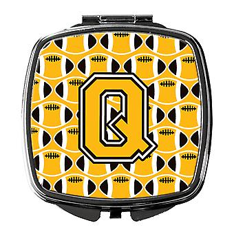 Letter Q Football Black, Old Gold and White Compact Mirror