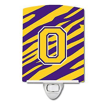 Letter O Monogram - Tiger Stripe - Purple Gold Ceramic Night Light