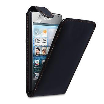 Yousave Huawei Ascend Y300 læder-effekt Flip Case - sort
