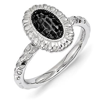 2.5mm Sterling Silver Stackable Expressions Ruthenium-plated Oval Ring - Ring Size: 5 to 10