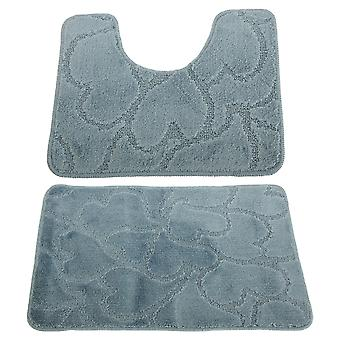 2 Piece Heart Patterned Bath Mat And Pedestal Mat Set