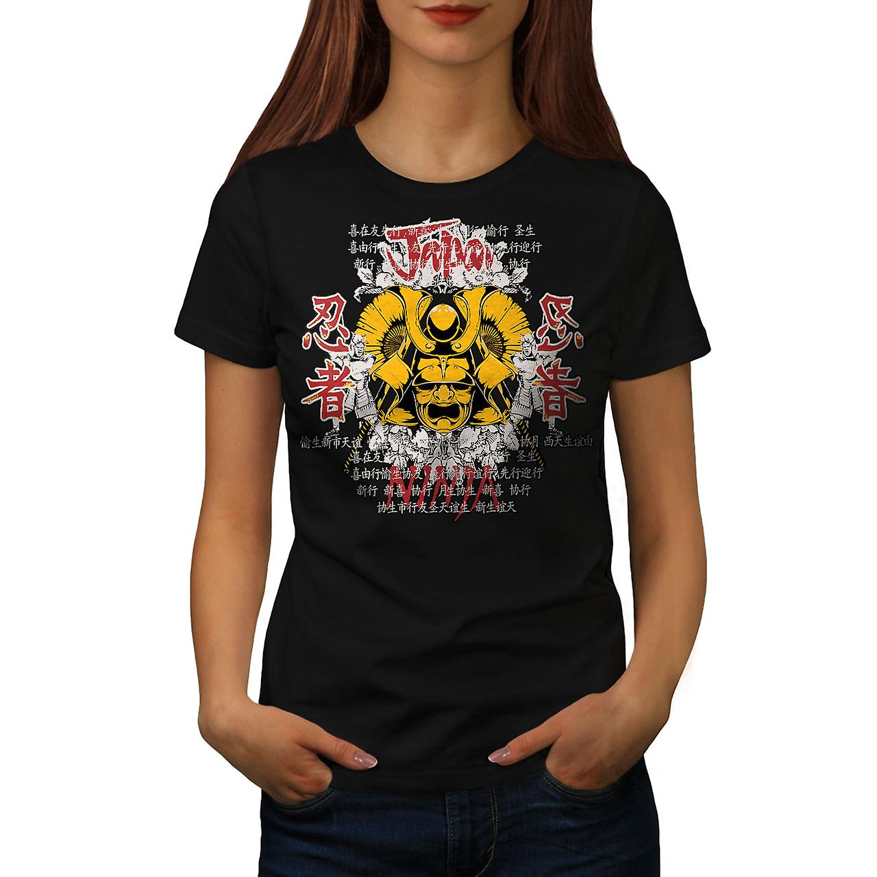 Oriental Ninja Fantasy Women Black T-shirt | Wellcoda