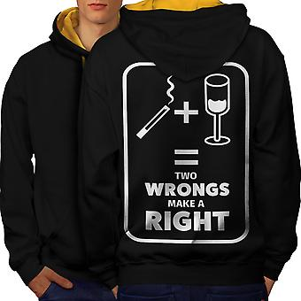 Smoking Wine Cool Funny Men Black (Gold Hood)Contrast Hoodie Back | Wellcoda