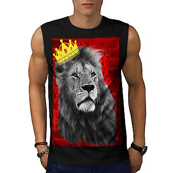 Royal Lion Kingdom Men BlackSleeveless T-shirt | Wellcoda