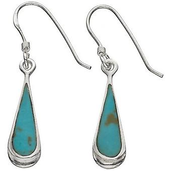 Beginnings Synthetic Turquoise Elongated Teardrop Drop Earrings - Turquoise/Silver