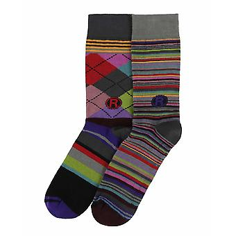 Variables Gift Pack | 2 pairs of men's crazy cotton dress socks by Dub & Drino
