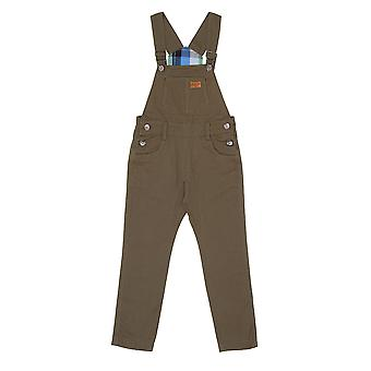 Children's Green Dungarees Age 6-12 Boy Girl Slim fit Overalls Check lining