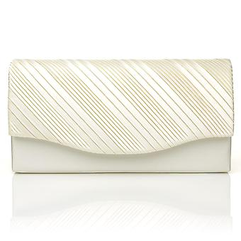 DINKY Ivory Satin Small Size Pleated Fold Over Clutch Bag