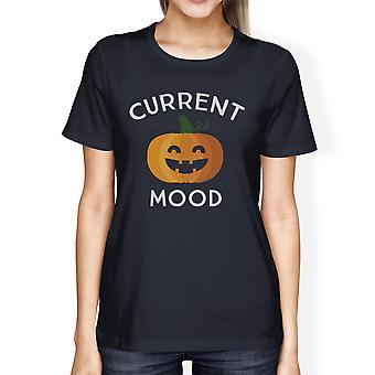 Pumpkin Current Mood Womens Navy Cotton Tee Shirt For Halloween